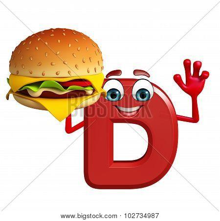Cartoon Character Of Alphabet D With Burger