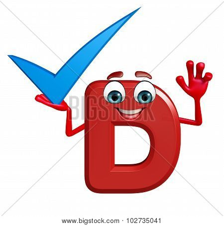 Cartoon Character Of Alphabet D With Right Sign