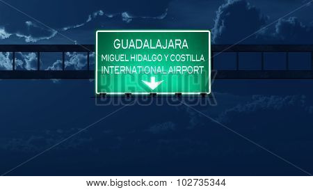 Guadalajara Mexico Airport Highway Road Sign At Night