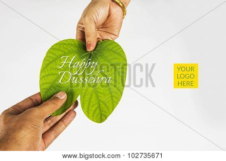Piliostigma racemosum, indian lady giving dussehra leaf to man, hand closeup