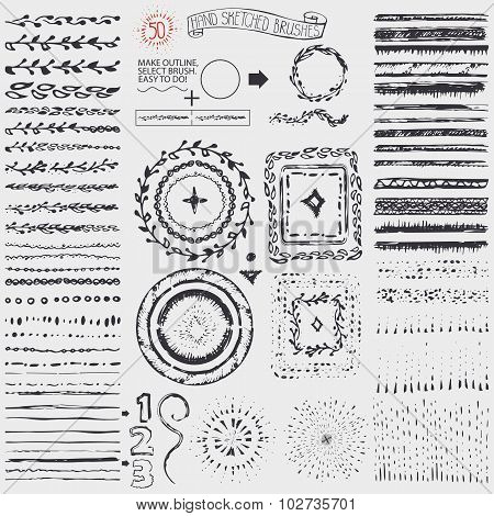 Doodle pattern brushes,wreath,frame,burst.Black