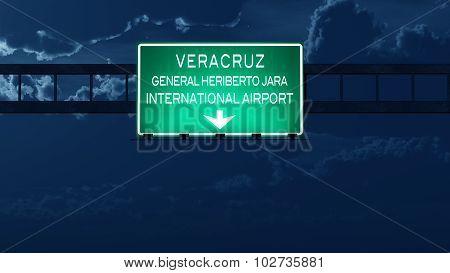 Veracruz Mexico Airport Highway Road Sign At Night