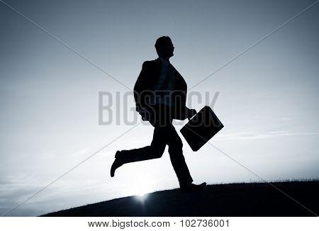 Businessman Running Rush Hour Concept
