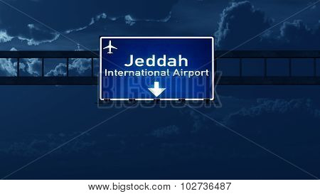 Jeddah Saudi Arabia Airport Highway Road Sign At Night