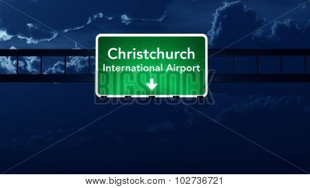 Christchurch Airport Highway Road Sign At Night