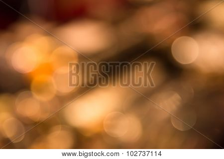 Abstract Blur Bokeh Defocused Of Orange Light In City  Background