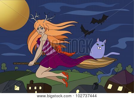 Witch Flying On A Broomstick Vector Background