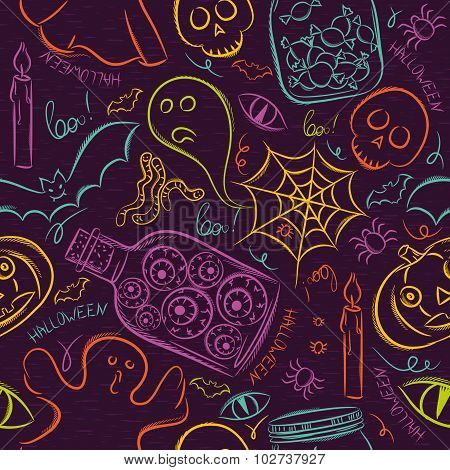 Seamless Pattern With Color Halloween Ghost, Skull And Pumpkin