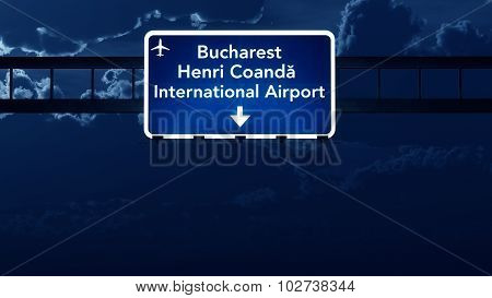Bucharest Romania Airport Highway Road Sign At Night