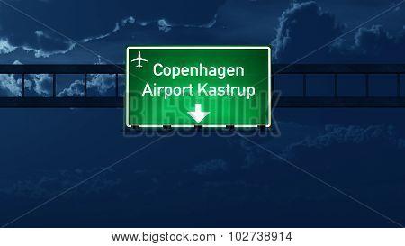 Copenhagen Denmark Airport Highway Road Sign At Night