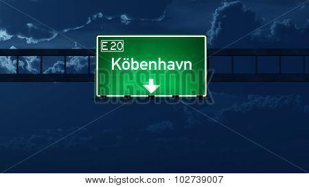Copenhagen Denmark Highway Road Sign At Night