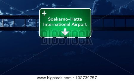 Indonesia Airport Highway Road Sign At Night