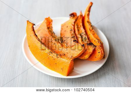 Freshly Baked And Juicy Slices Of Pumpkin