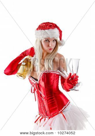 Mrs. Santa With Champagne Bottle