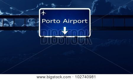 Porto Portugal Airport Highway Road Sign At Night