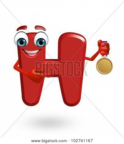 Cartoon Character Of Alphabet H With Medal