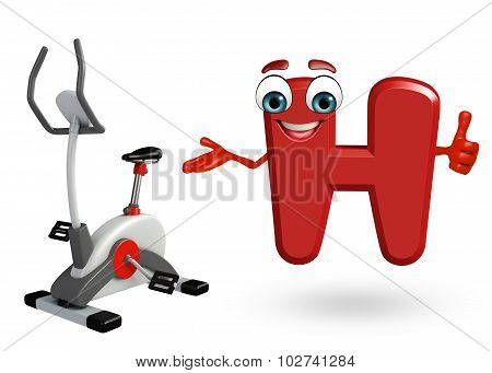 Cartoon Character Of Alphabet H With Exercising Machine