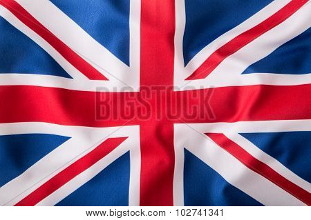 Closeup of Union Jack flag. UK Flag.