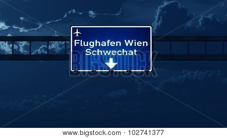 Vienna Austria Airport Highway Road Sign At Night