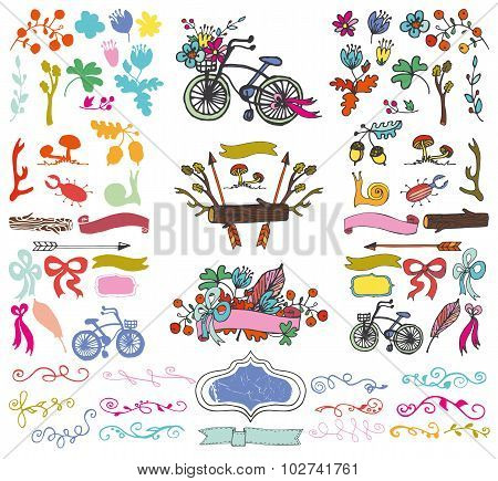 Doodle floral group,hand sketch rustic colored elements kit