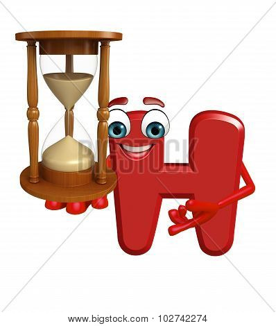 Cartoon Character Of Alphabet H With Sand Clock