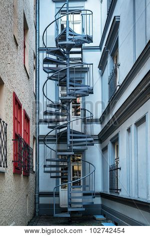 Spiral staircase in a courtyard, Riga