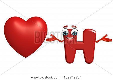 Cartoon Character Of Alphabet H With Heart Shape
