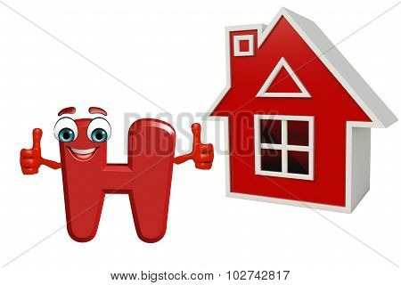 Cartoon Character Of Alphabet H With House