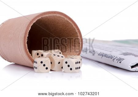 Dice And Newspaper Still Life