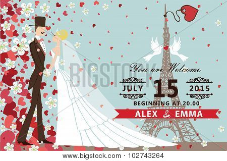 Wedding invitation.Bride,groom ,Hearts ,flowers,Eiffel tower