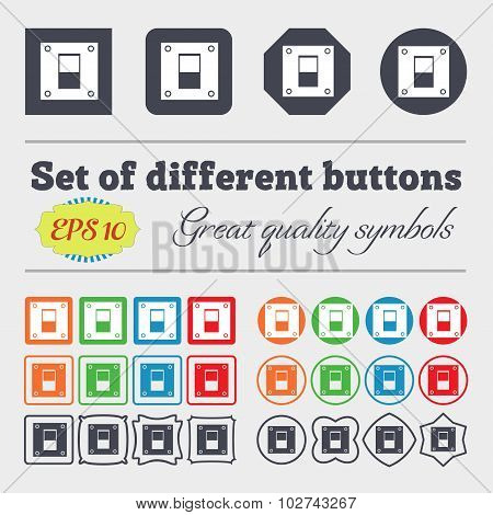 Power Switch Icon Sign. Big Set Of Colorful, Diverse, High-quality Buttons. Vector