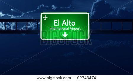 La Paz Bolivia Airport Highway Road Sign At Night