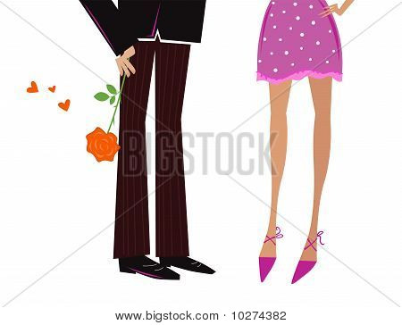 Man Giving Woman romantic gift - red rose