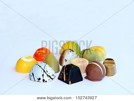 Colorful chocolate bonbons