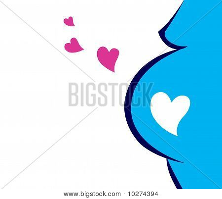 Pregnant Woman Icon With Heart (blue)