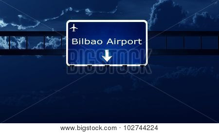 Bilbao Spain Airport Highway Road Sign At Night