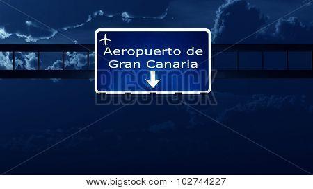 Gran Canaria Spain Airport Highway Road Sign At Night