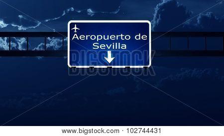 Sevilla Spain Airport Highway Road Sign At Night