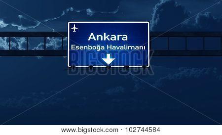 Ankara Turkey Airport Highway Road Sign At Night