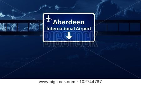Aberdeen Scotland Uk Airport Highway Road Sign At Night