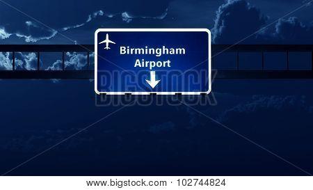 Birmingham England Uk Airport Highway Road Sign At Night