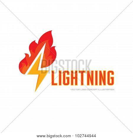 Lightning and flame - vector logo concept illustration. Fire logo. Power energy logo.
