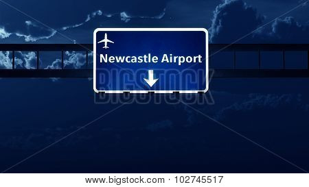 Newcastle England Uk Airport Highway Road Sign At Night