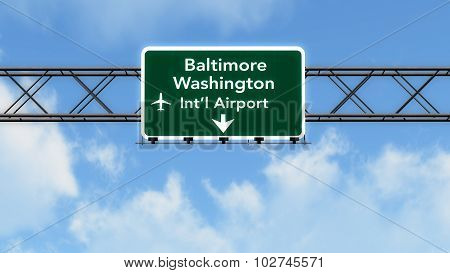 Baltimore Usa Airport Highway Sign