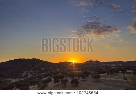 Sunset Countryside Landscape Scenic View Of Medieval Noudar Castle, In The Alentejo region.