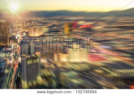 Aerial View Of Las Vegas Skyline At Sunset - Blurred City Lights From Downtown Strip Boulevard