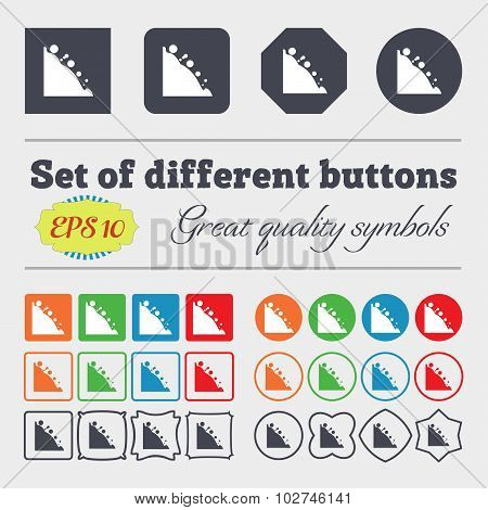 Rockfall Icon. Big Set Of Colorful, Diverse, High-quality Buttons. Vector
