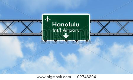 Honolulu Usa Airport Highway Sign