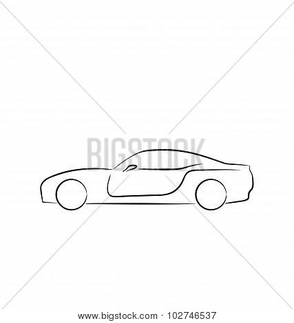 Abstact sportcar profile isolated on white background