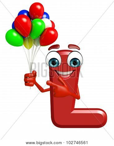 Cartoon Character Of Alphabet L With Balloons